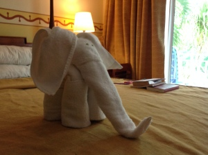A towel folded by our housekeeping staff